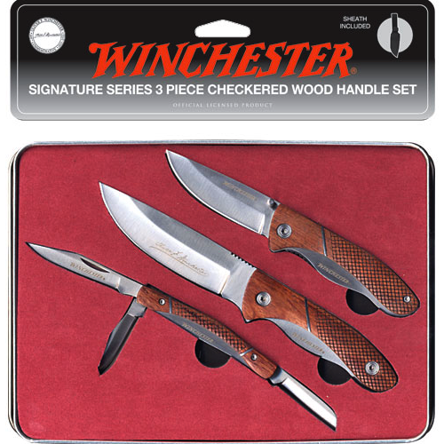 Winchester Signature 3 Knife Set with Checkered Wood